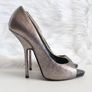 Giuseppe Zanotti Crackled Metallic Silver Pumps 39